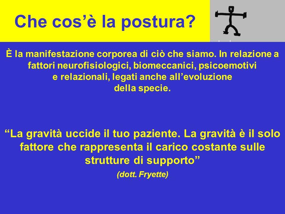 Che cosè la postura? La gravità uccide il tuo paziente. La gravità è il solo fattore che rappresenta il carico costante sulle strutture di supporto (d
