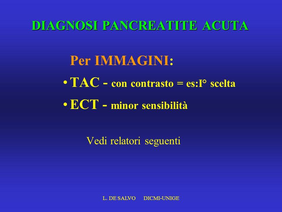 L. DE SALVO DICMI-UNIGE DIAGNOSI PANCREATITE ACUTA Per IMMAGINI: TAC - con contrasto = es:I° scelta ECT - minor sensibilità Vedi relatori seguenti