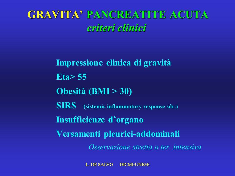 L. DE SALVO DICMI-UNIGE GRAVITA PANCREATITE ACUTA criteri clinici Impressione clinica di gravità Eta> 55 Obesità (BMI > 30) SIRS ( sistemic inflammato