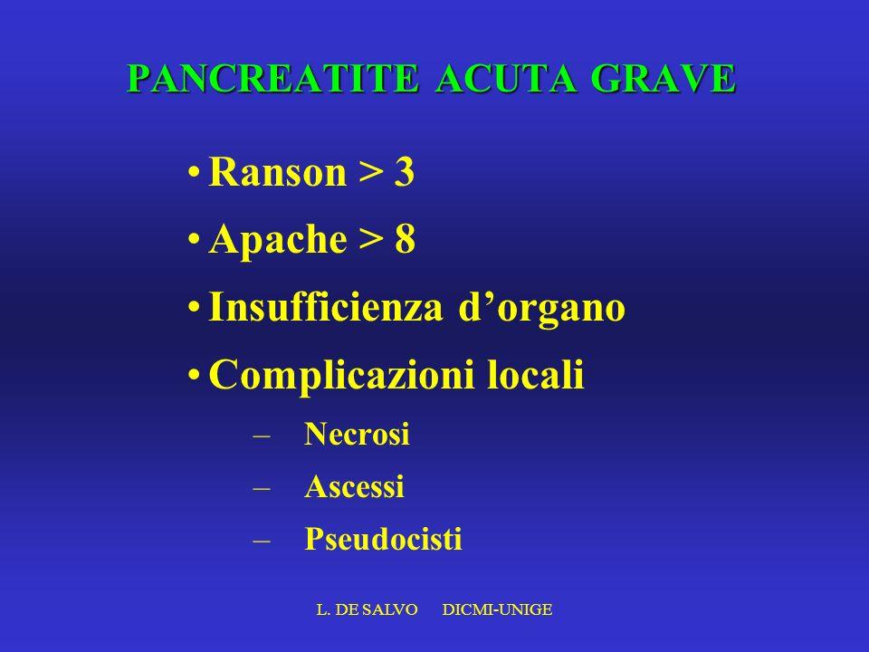 L. DE SALVO DICMI-UNIGE PANCREATITE ACUTA GRAVE Ranson > 3 Apache > 8 Insufficienza dorgano Complicazioni locali –Necrosi –Ascessi –Pseudocisti