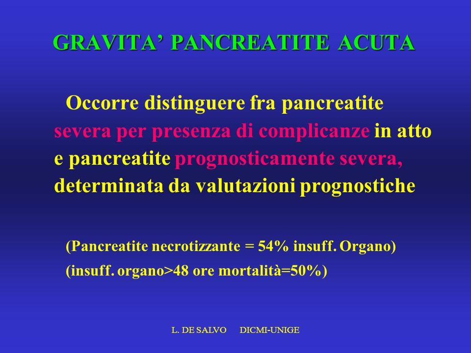 L. DE SALVO DICMI-UNIGE GRAVITA PANCREATITE ACUTA Occorre distinguere fra pancreatite severa per presenza di complicanze in atto e pancreatite prognos