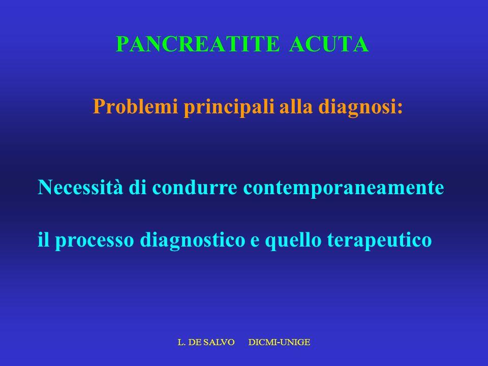 L. DE SALVO DICMI-UNIGE PANCREATITE ACUTA Problemi principali alla diagnosi: Necessità di condurre contemporaneamente il processo diagnostico e quello