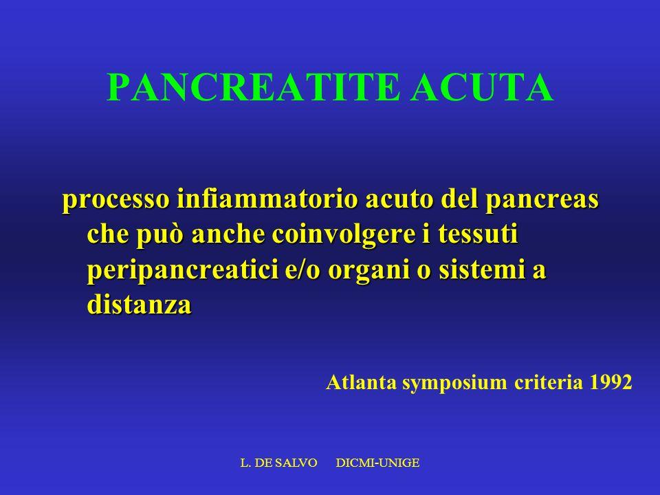 L. DE SALVO DICMI-UNIGE PANCREATITE ACUTA processo infiammatorio acuto del pancreas che può anche coinvolgere i tessuti peripancreatici e/o organi o s