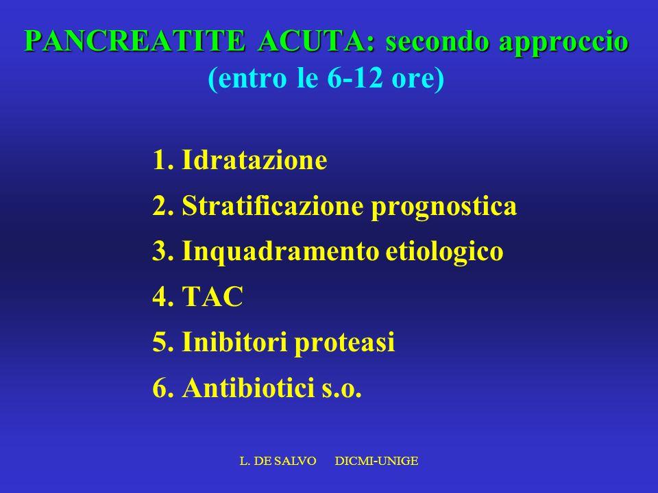 L. DE SALVO DICMI-UNIGE PANCREATITE ACUTA: secondo approccio PANCREATITE ACUTA: secondo approccio (entro le 6-12 ore) 1. Idratazione 2. Stratificazion