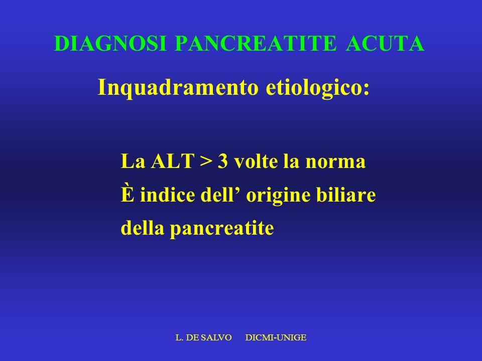 L. DE SALVO DICMI-UNIGE DIAGNOSI PANCREATITE ACUTA La ALT > 3 volte la norma È indice dell origine biliare della pancreatite Inquadramento etiologico: