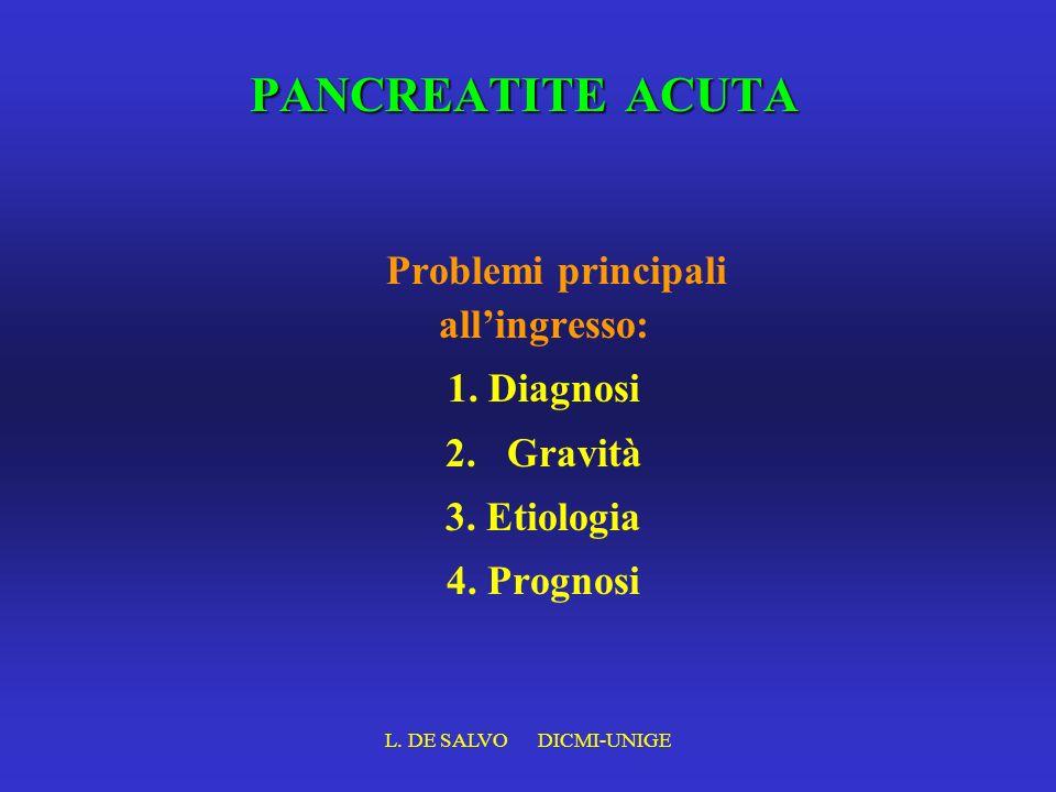 L. DE SALVO DICMI-UNIGE PANCREATITE ACUTA Problemi principali allingresso: 1. Diagnosi 2. Gravità 3. Etiologia 4. Prognosi