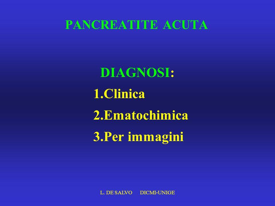 L. DE SALVO DICMI-UNIGE PANCREATITE ACUTA DIAGNOSI: 1.Clinica 2.Ematochimica 3.Per immagini