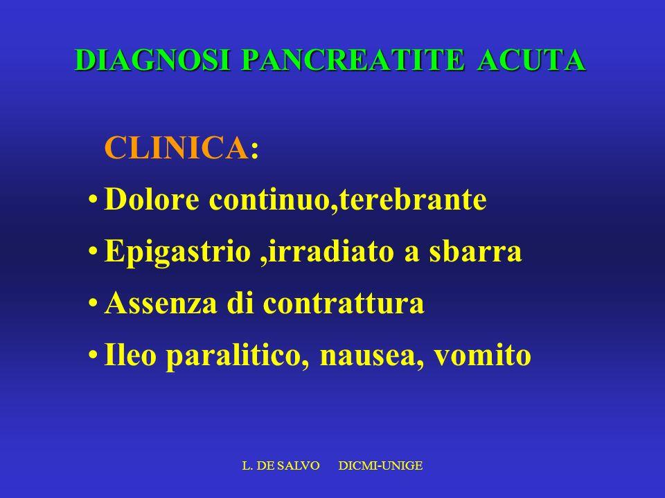 L. DE SALVO DICMI-UNIGE DIAGNOSI PANCREATITE ACUTA CLINICA: Dolore continuo,terebrante Epigastrio,irradiato a sbarra Assenza di contrattura Ileo paral