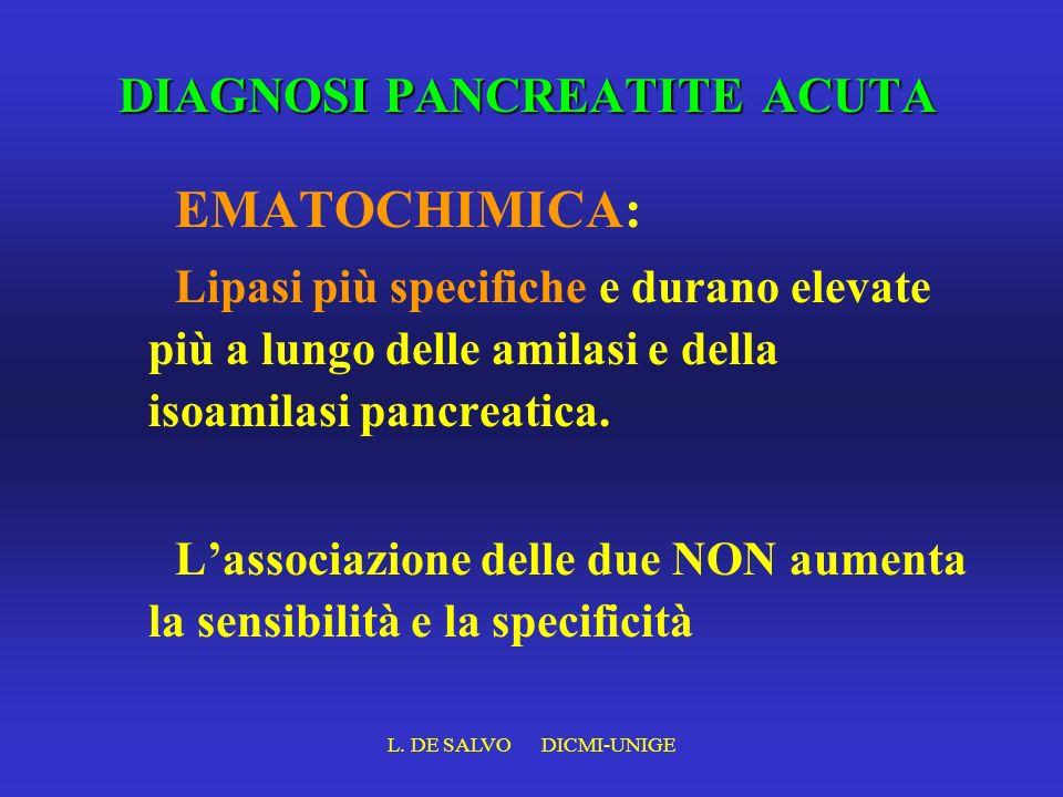 L. DE SALVO DICMI-UNIGE DIAGNOSI PANCREATITE ACUTA EMATOCHIMICA: Lipasi più specifiche e durano elevate più a lungo delle amilasi e della isoamilasi p