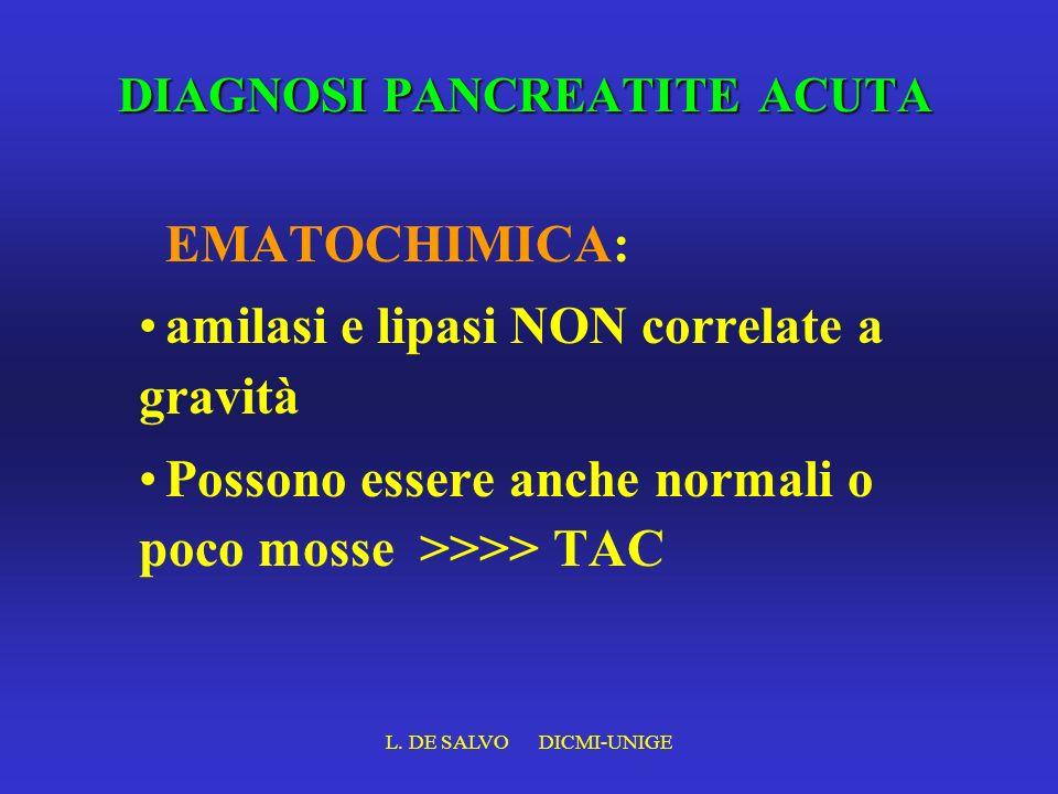 L. DE SALVO DICMI-UNIGE DIAGNOSI PANCREATITE ACUTA EMATOCHIMICA: amilasi e lipasi NON correlate a gravità Possono essere anche normali o poco mosse >>