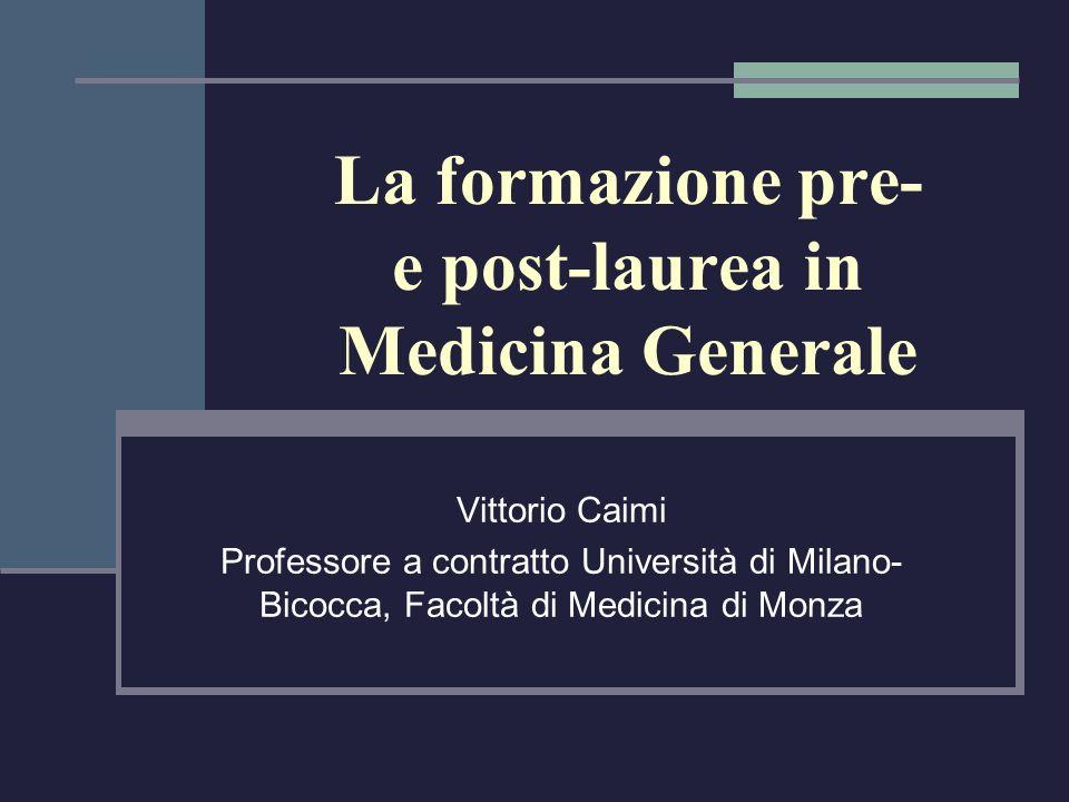 La formazione pre- e post-laurea in Medicina Generale Vittorio Caimi Professore a contratto Università di Milano- Bicocca, Facoltà di Medicina di Monz
