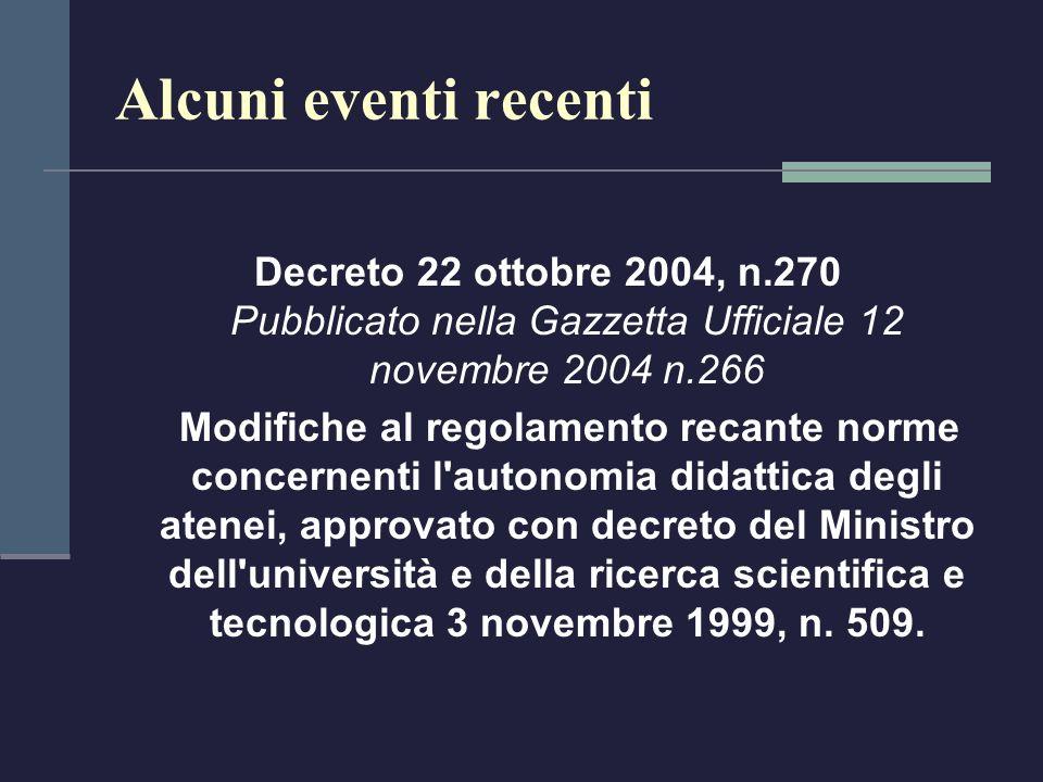 Alcuni eventi recenti Decreto 22 ottobre 2004, n.270 Pubblicato nella Gazzetta Ufficiale 12 novembre 2004 n.266 Modifiche al regolamento recante norme