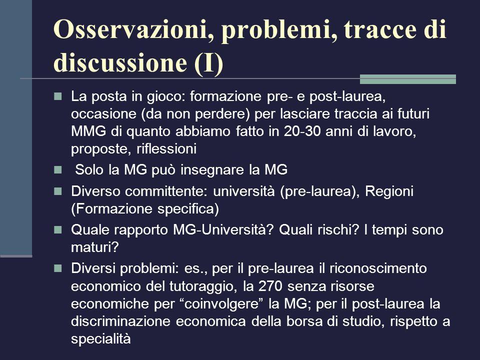 Osservazioni, problemi, tracce di discussione (I) La posta in gioco: formazione pre- e post-laurea, occasione (da non perdere) per lasciare traccia ai