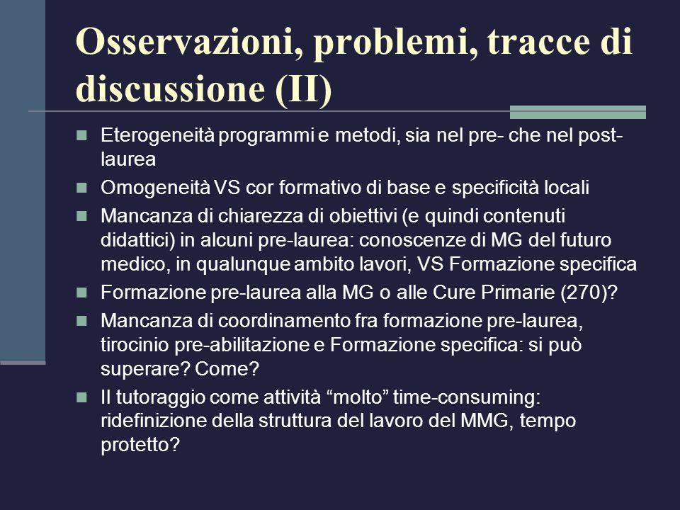 Osservazioni, problemi, tracce di discussione (II) Eterogeneità programmi e metodi, sia nel pre- che nel post- laurea Omogeneità VS cor formativo di b