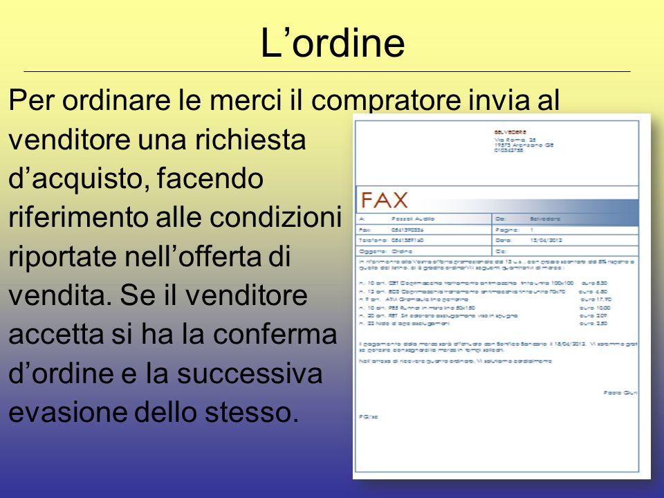 Lordine Per ordinare le merci il compratore invia al venditore una richiesta dacquisto, facendo riferimento alle condizioni riportate nellofferta di v