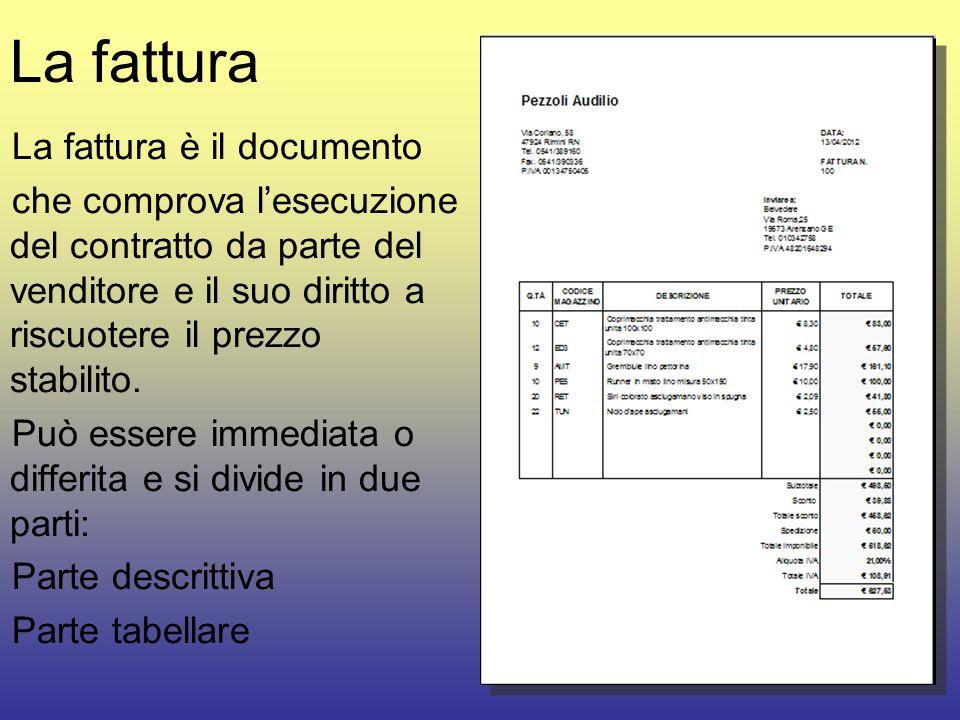 La fattura La fattura è il documento che comprova lesecuzione del contratto da parte del venditore e il suo diritto a riscuotere il prezzo stabilito.