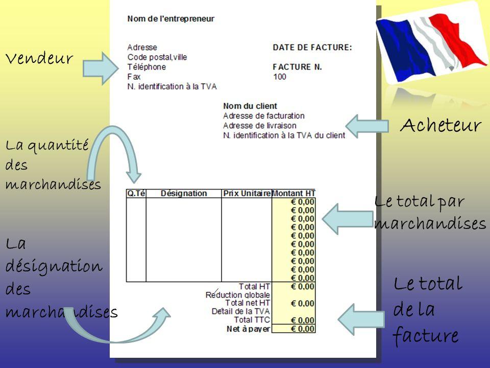 Vendeur Acheteur La quantité des marchandises La désignation des marchandises Le total par marchandises Le total de la facture