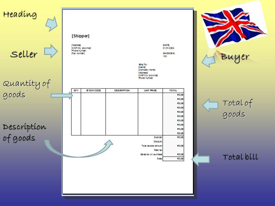 Heading Seller Buyer Quantity of goods Description of goods Total bill Total of goods