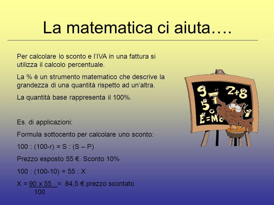 La matematica ci aiuta…. Per calcolare lo sconto e lIVA in una fattura si utilizza il calcolo percentuale. La % è un strumento matematico che descrive
