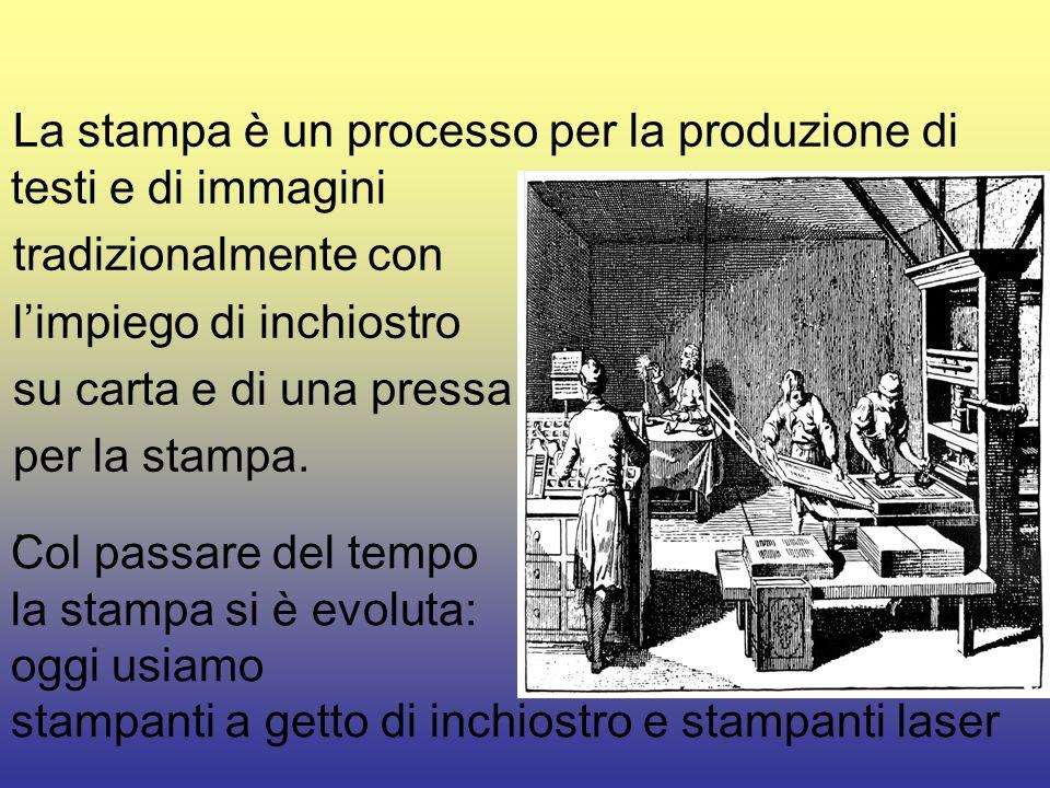 La stampa è un processo per la produzione di testi e di immagini tradizionalmente con limpiego di inchiostro su carta e di una pressa per la stampa..
