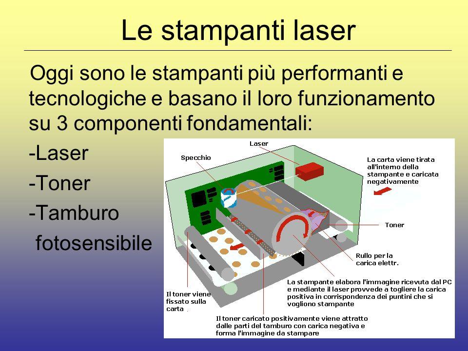 Le stampanti laser Oggi sono le stampanti più performanti e tecnologiche e basano il loro funzionamento su 3 componenti fondamentali: -Laser -Toner -Tamburo fotosensibile
