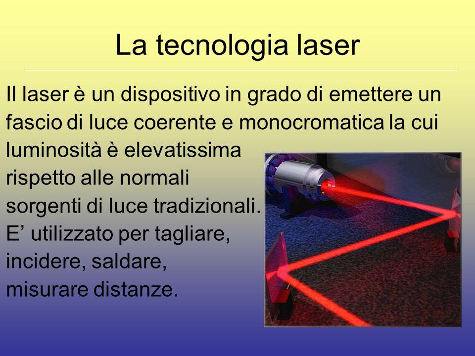 La tecnologia laser Il laser è un dispositivo in grado di emettere un fascio di luce coerente e monocromatica la cui luminosità è elevatissima rispetto alle normali sorgenti di luce tradizionali.