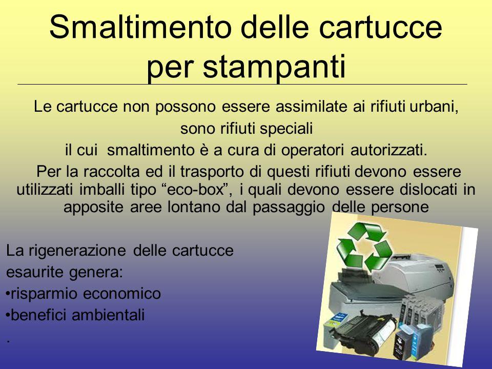 Smaltimento delle cartucce per stampanti Le cartucce non possono essere assimilate ai rifiuti urbani, sono rifiuti speciali il cui smaltimento è a cura di operatori autorizzati.