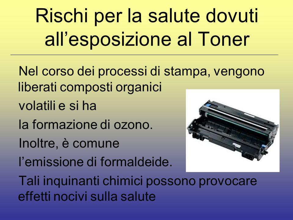 Rischi per la salute dovuti allesposizione al Toner Nel corso dei processi di stampa, vengono liberati composti organici volatili e si ha la formazione di ozono.