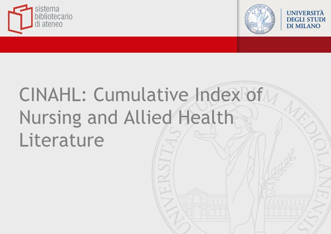 CINAHL: Cumulative Index of Nursing and Allied Health Literature