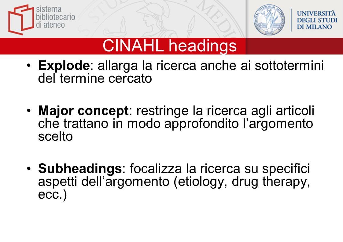 CINAHL headings Explode: allarga la ricerca anche ai sottotermini del termine cercato Major concept: restringe la ricerca agli articoli che trattano i