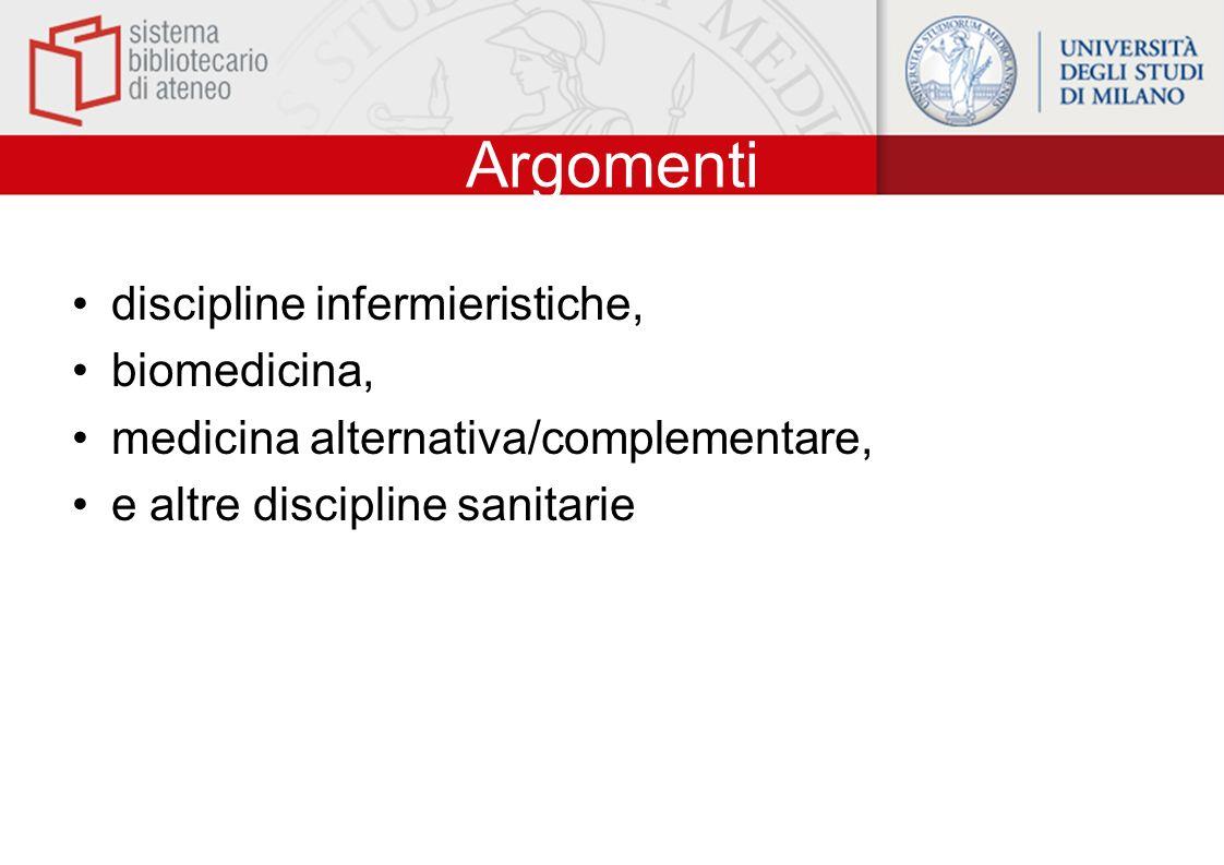 Argomenti discipline infermieristiche, biomedicina, medicina alternativa/complementare, e altre discipline sanitarie