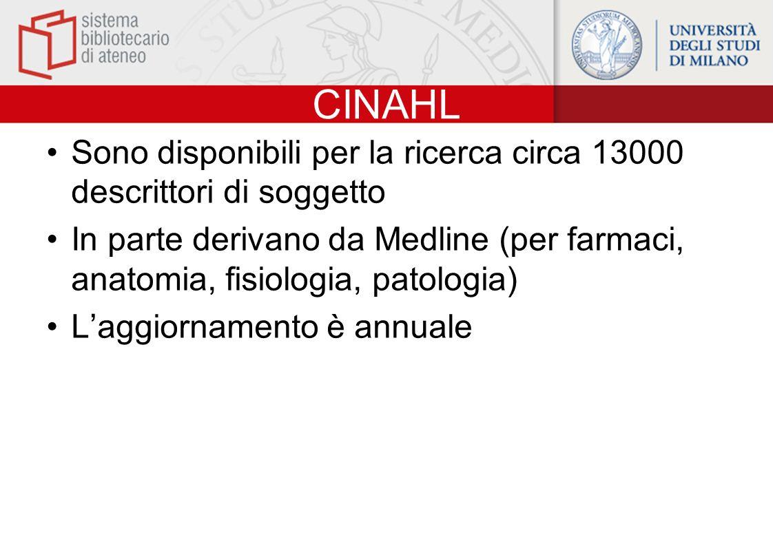 CINAHL Sono disponibili per la ricerca circa 13000 descrittori di soggetto In parte derivano da Medline (per farmaci, anatomia, fisiologia, patologia)