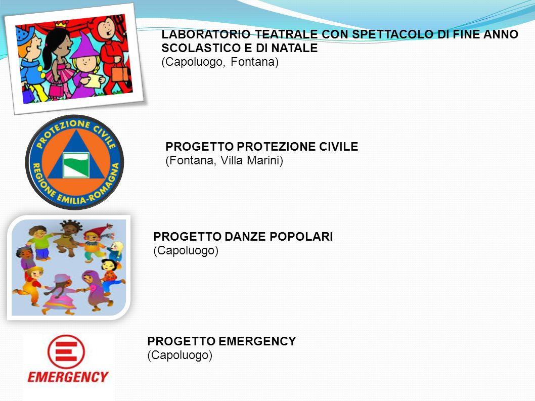 LABORATORIO TEATRALE CON SPETTACOLO DI FINE ANNO SCOLASTICO E DI NATALE (Capoluogo, Fontana) PROGETTO DANZE POPOLARI (Capoluogo) PROGETTO EMERGENCY (C