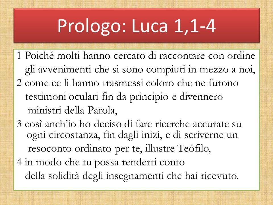 Prologo: Luca 1,1-4 1 Poiché molti hanno cercato di raccontare con ordine gli avvenimenti che si sono compiuti in mezzo a noi, 2 come ce li hanno tras