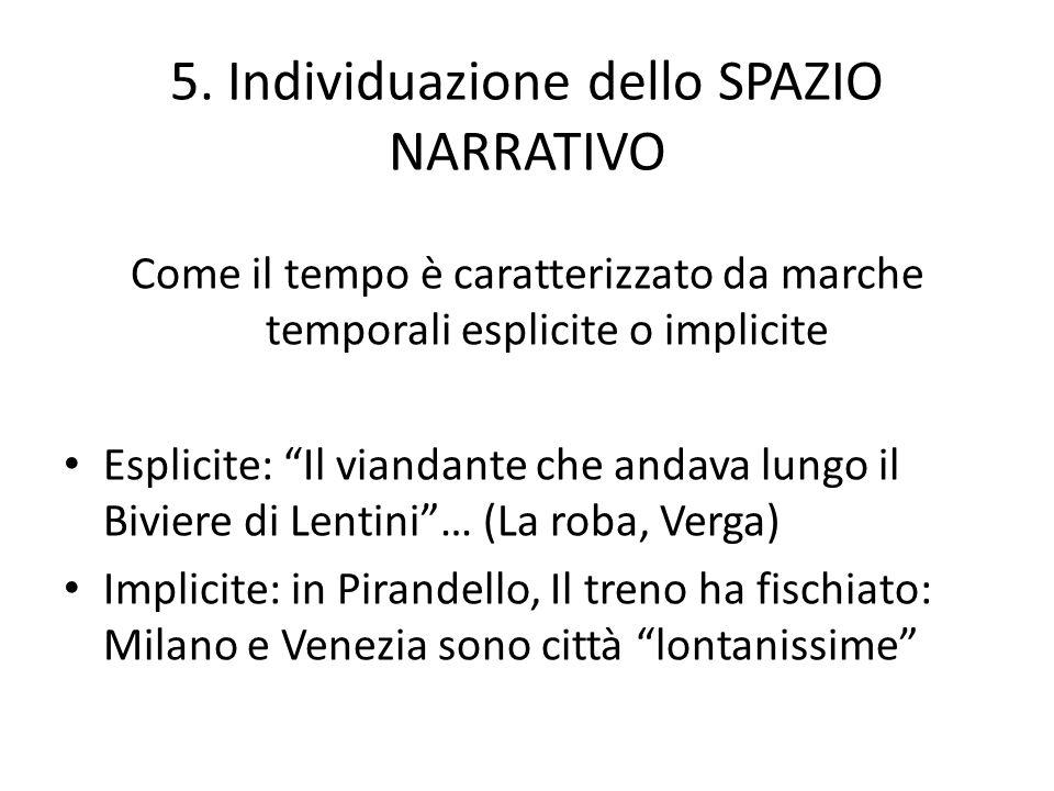 5. Individuazione dello SPAZIO NARRATIVO Come il tempo è caratterizzato da marche temporali esplicite o implicite Esplicite: Il viandante che andava l