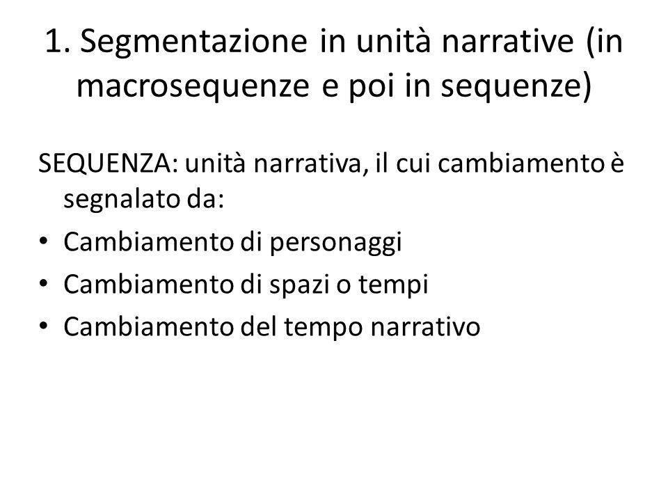 1. Segmentazione in unità narrative (in macrosequenze e poi in sequenze) SEQUENZA: unità narrativa, il cui cambiamento è segnalato da: Cambiamento di
