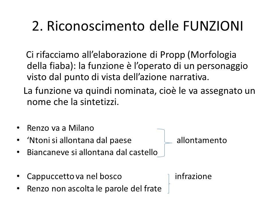 2. Riconoscimento delle FUNZIONI Ci rifacciamo allelaborazione di Propp (Morfologia della fiaba): la funzione è loperato di un personaggio visto dal p