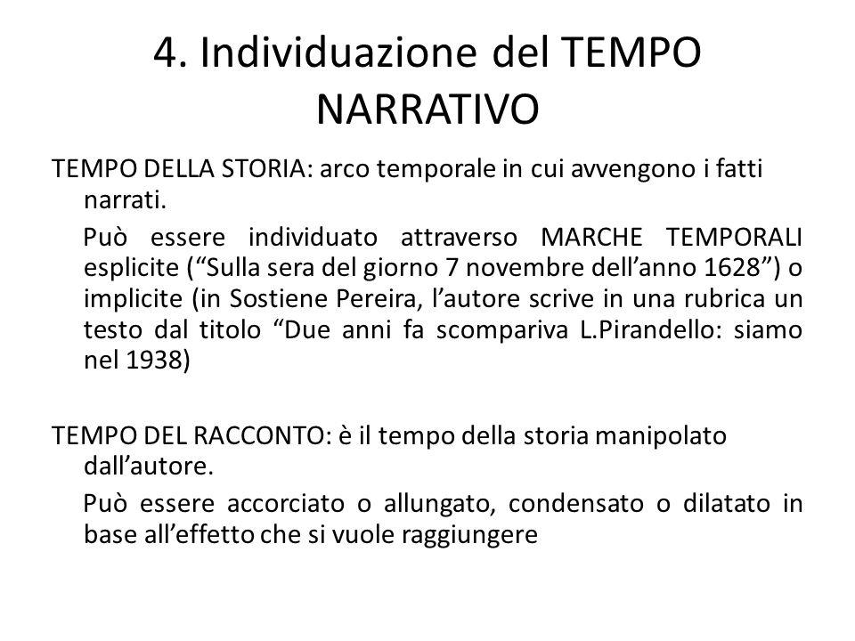 4. Individuazione del TEMPO NARRATIVO TEMPO DELLA STORIA: arco temporale in cui avvengono i fatti narrati. Può essere individuato attraverso MARCHE TE