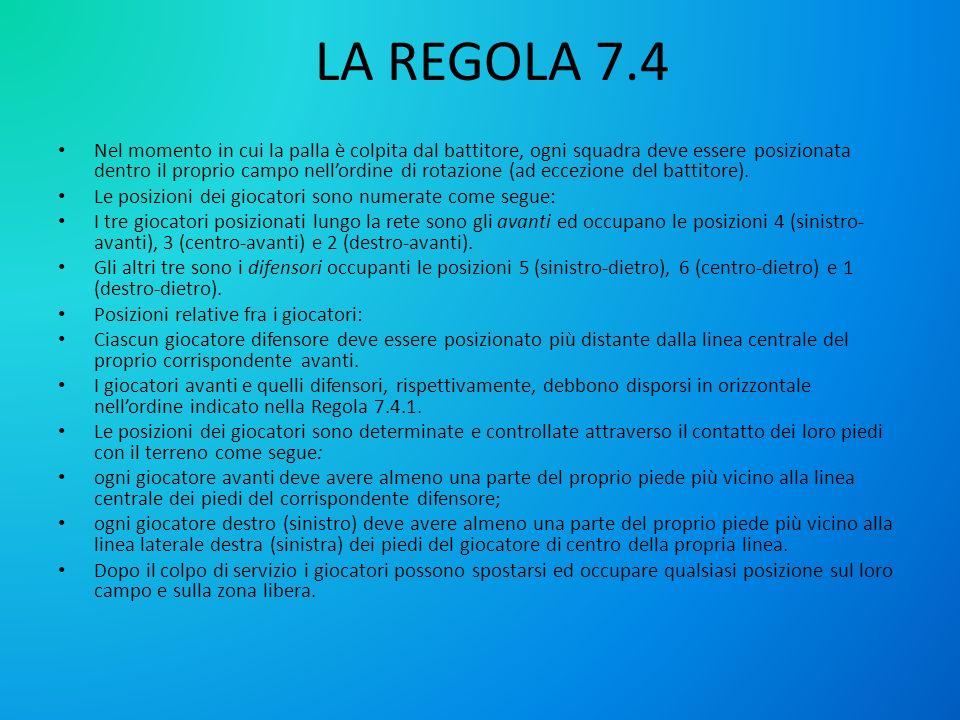 LA REGOLA 7.4 Nel momento in cui la palla è colpita dal battitore, ogni squadra deve essere posizionata dentro il proprio campo nellordine di rotazion
