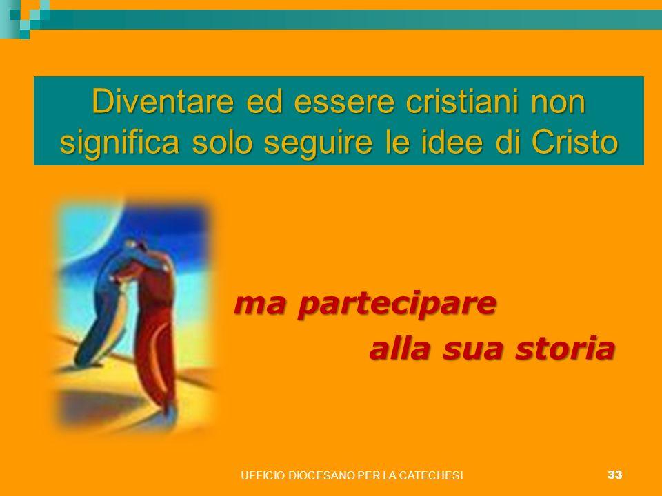 UFFICIO DIOCESANO PER LA CATECHESI 33 Diventare ed essere cristiani non significa solo seguire le idee di Cristo m mm ma partecipare alla sua storia