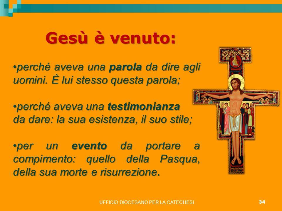 UFFICIO DIOCESANO PER LA CATECHESI 34 Gesù è venuto: perché aveva una parola da dire agli uomini. È lui stesso questa parola;perché aveva una parola d