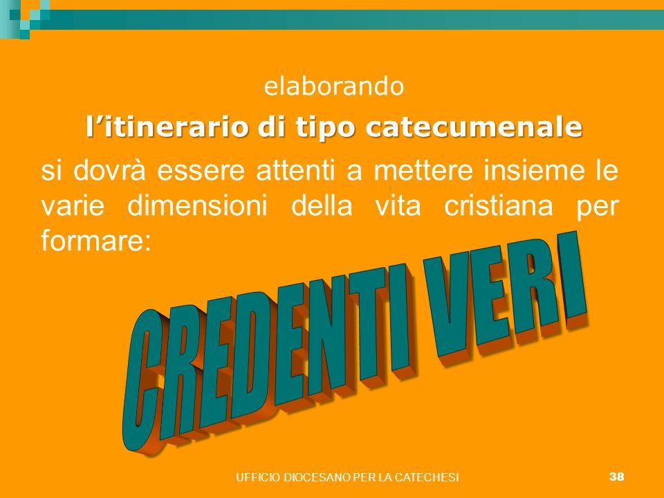 UFFICIO DIOCESANO PER LA CATECHESI 38 elaborando litinerario di tipo catecumenale si dovrà essere attenti a mettere insieme le varie dimensioni della
