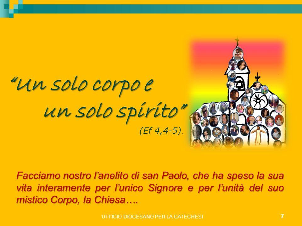 UFFICIO DIOCESANO PER LA CATECHESI 7 Un solo corpo e un solo spirito un solo spirito (Ef 4,4-5). Facciamo nostro lanelito di san Paolo, che ha speso l