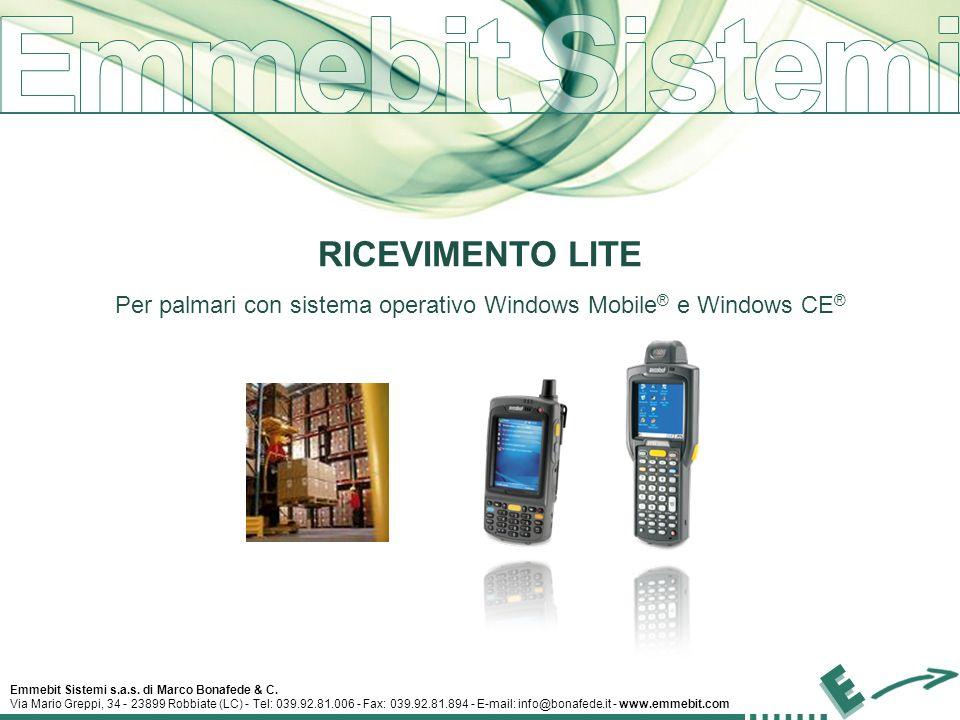 Emmebit Sistemi s.a.s. di Marco Bonafede & C. Via Mario Greppi, 34 - 23899 Robbiate (LC) - Tel: 039.92.81.006 - Fax: 039.92.81.894 - E-mail: info@bona