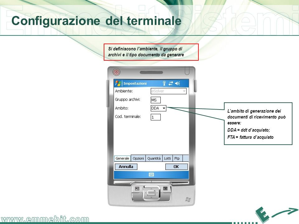 Configurazione del terminale Si definiscono lambiente, il gruppo di archivi e il tipo documento da generare Lambito di generazione dei documenti di ri