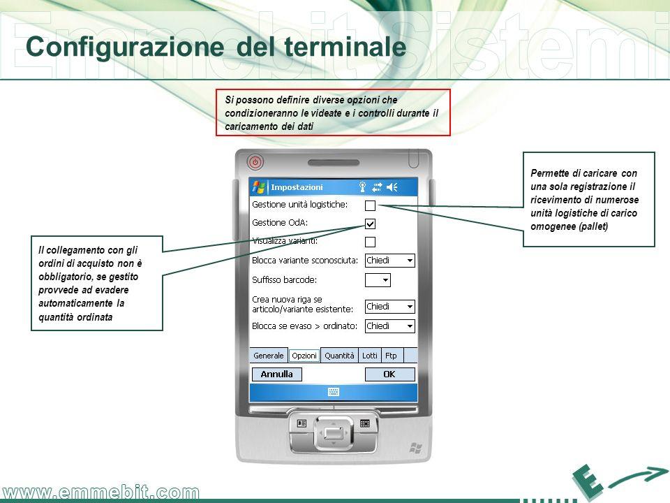 Configurazione del terminale Si possono definire diverse opzioni che condizioneranno le videate e i controlli durante il caricamento dei dati Il colle