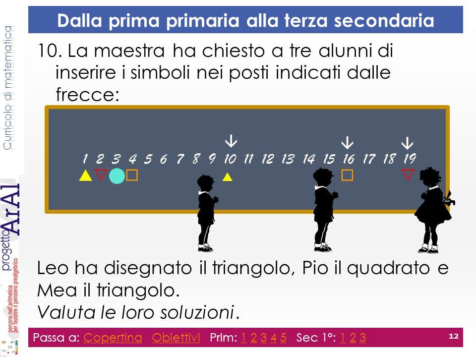 10. La maestra ha chiesto a tre alunni di inserire i simboli nei posti indicati dalle frecce: Leo ha disegnato il triangolo, Pio il quadrato e Mea il