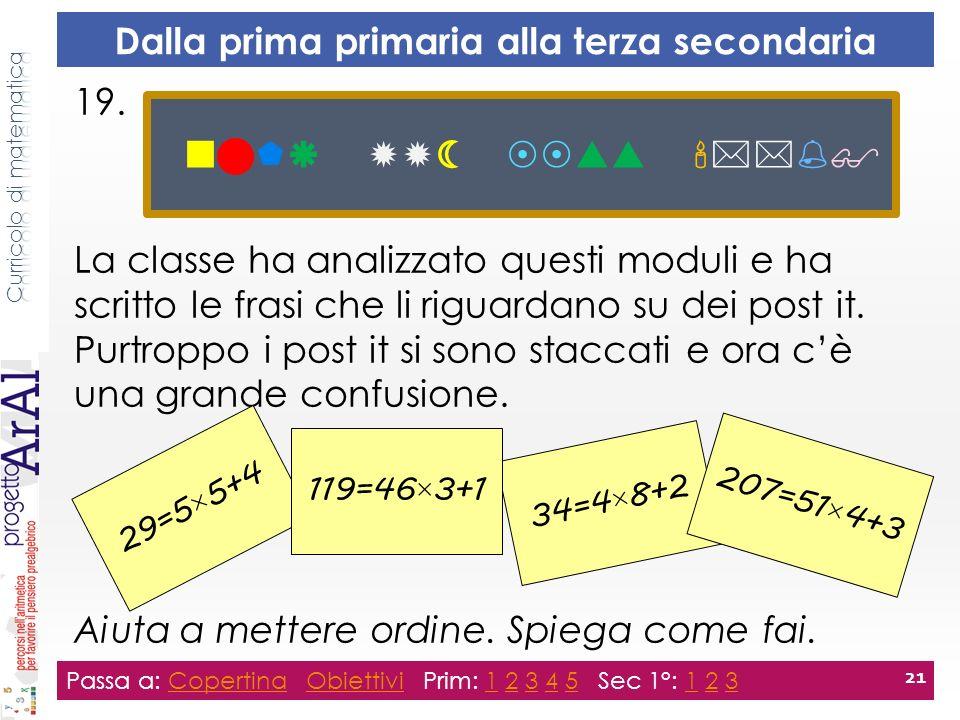 19. La classe ha analizzato questi moduli e ha scritto le frasi che li riguardano su dei post it.