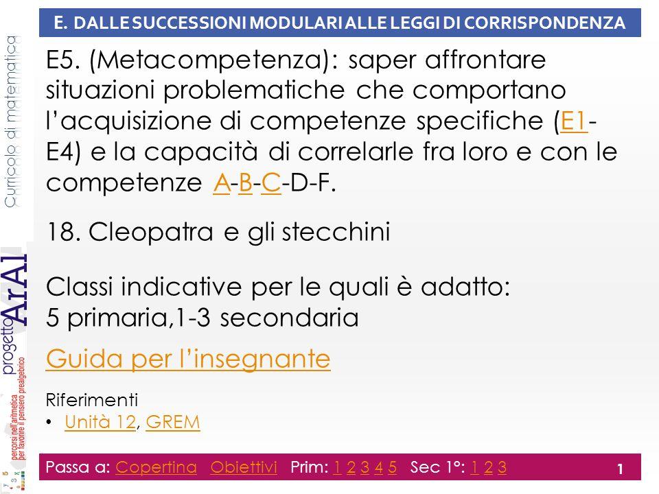 E.DALLE SUCCESSIONI MODULARI ALLE LEGGI DI CORRISPONDENZA E5.