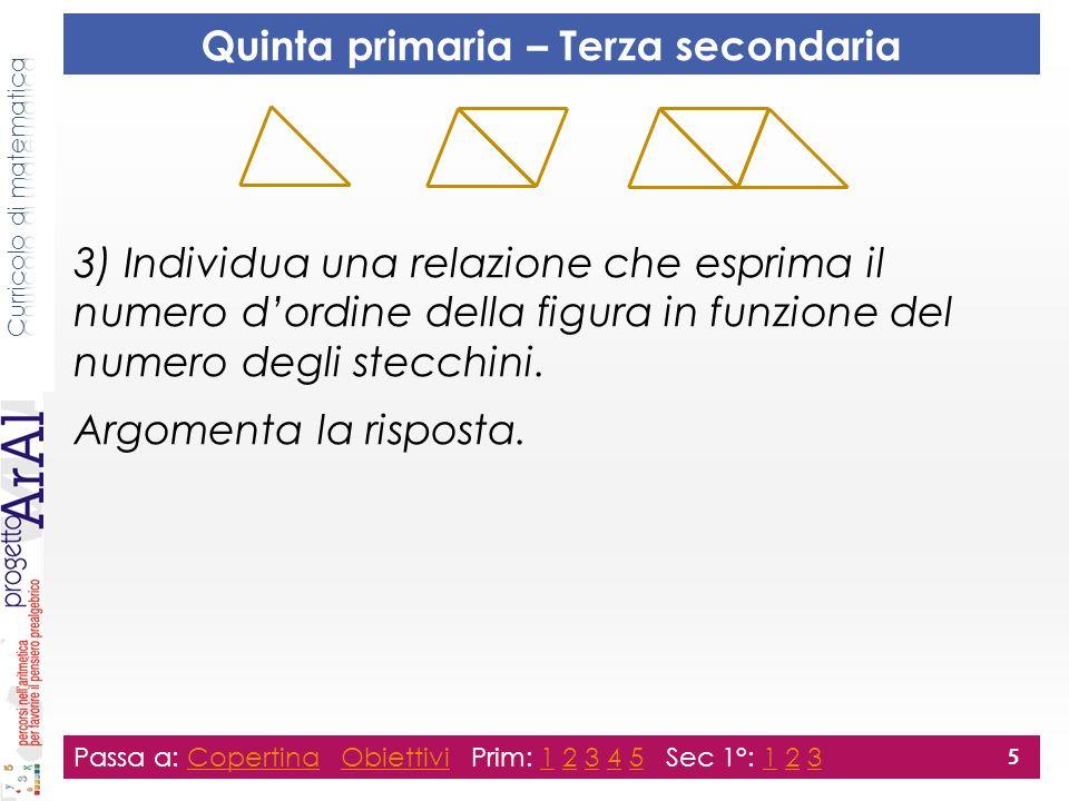 3) Individua una relazione che esprima il numero dordine della figura in funzione del numero degli stecchini. Argomenta la risposta. Passa a: Copertin